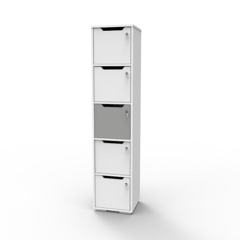 Vestiaire de bureau en bois gris et blanc livré monté en entreprise et collectivité / association qui se livre monté