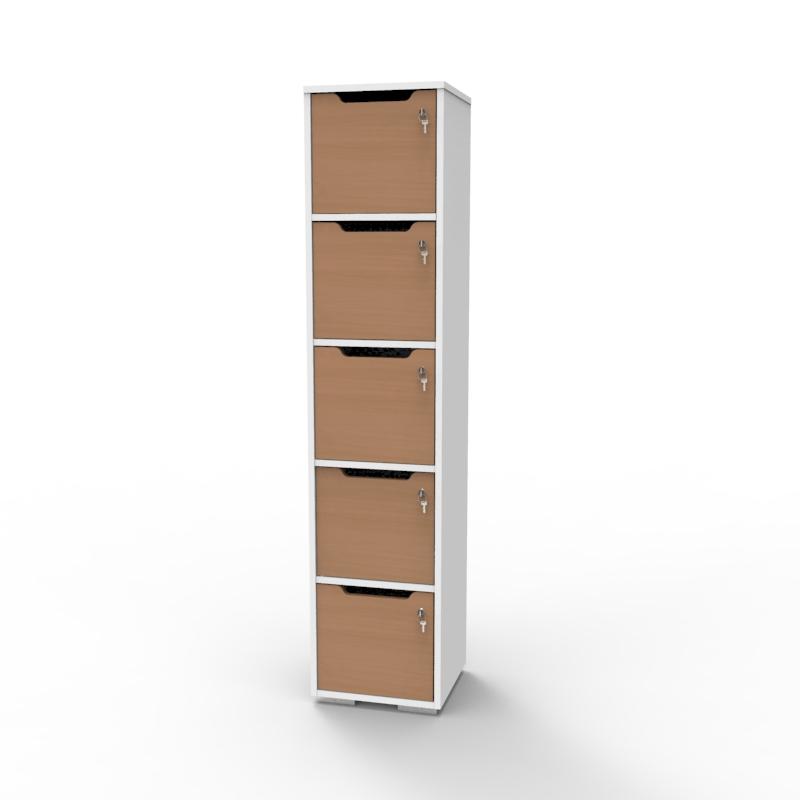 Vestiaire de bureau en bois hêtre fabriqué en france et livré monté qui se décline en plusieurs coloris de casiers et corps de meuble