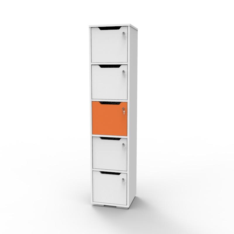 Vestiaire de bureau en bois orange et blanc convenant pour des salles de fitness ou de sport ainsi que des vestiaires de piscines