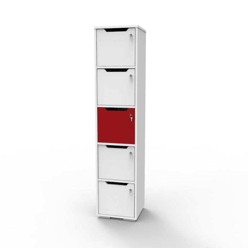 Vestiaire de bureau en bois rouge et blanc idéal pour entreprise et collectivité souhaitant apporter du rangement à leurs salariés