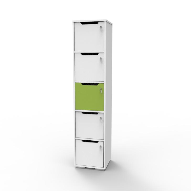 Vestiaire de bureau en bois vert et blanc avec 5 casiers CASEO de la gamme de meubles de rangements avec casiers sur Vente Directe PME