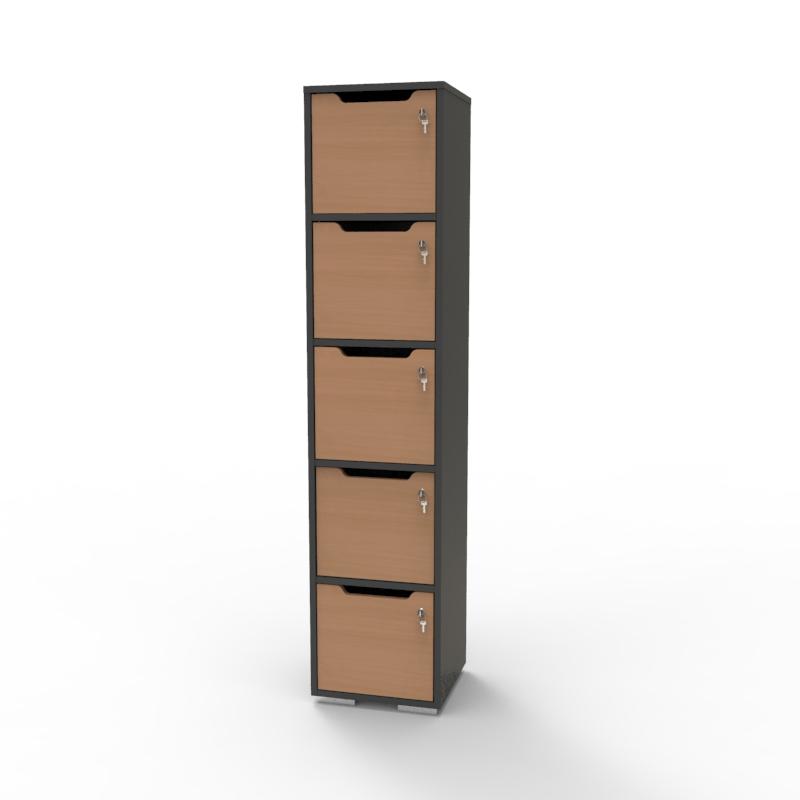 Vestiaire de bureau en bois hêtre avec 5 cases de la gamme de meubles de rangement avec casiers CASEO sur Vente Directe PME