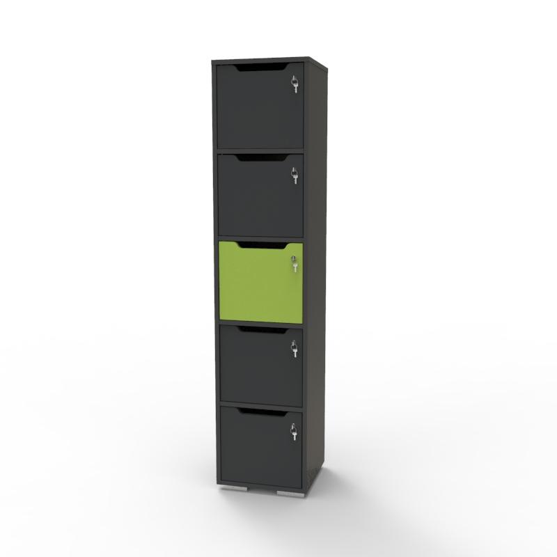 Vestiaire de bureau en bois vert et graphite doté de 5 casiers CASEO faisant parti des mobiliers de rangement sur la boutique du fabricant français Vente Directe PME