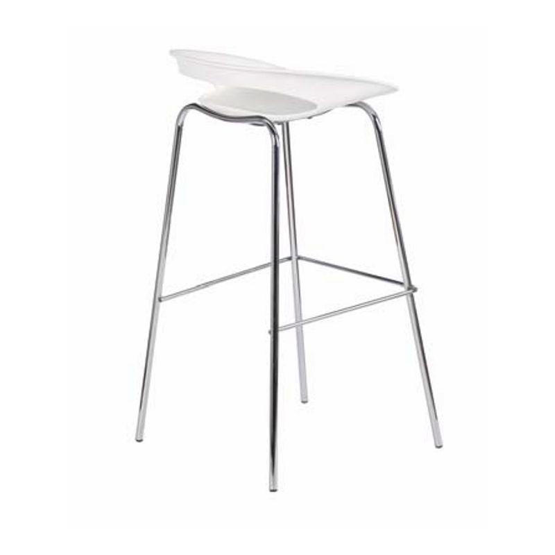 Chaise de bar haute blanc déclinée en plusieurs coloris pour accompagner les tables hautes mange-debout