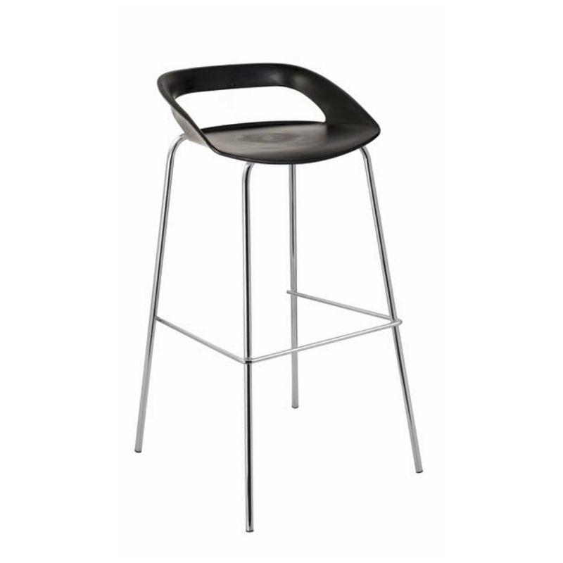 Chaise de bar haute noir déclinée en plusieurs coloris pour accompagner les tables hautes mange-debout
