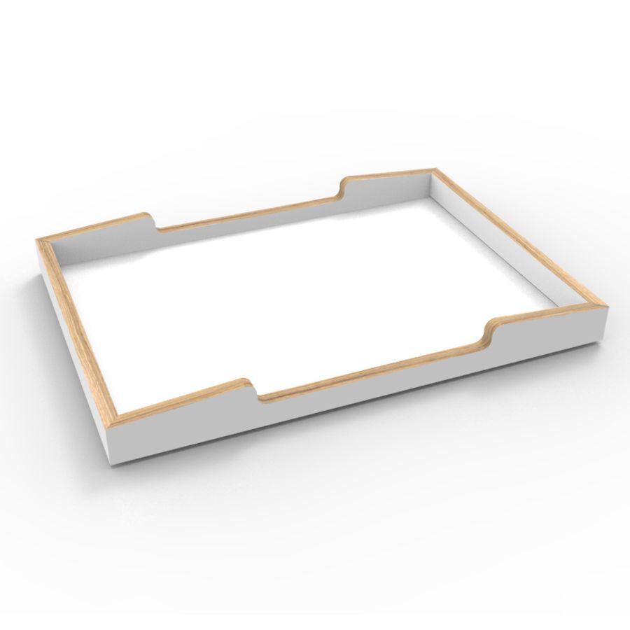 Plateau en bois blanc pour espace café et cuisine d'entreprise ou de collectivité de type chr