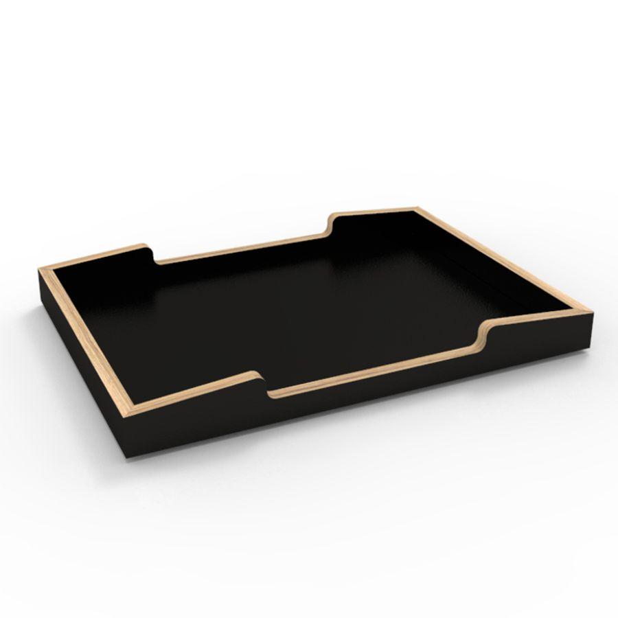 Plateau en bois noir et chêne idéal pour espace café et cuisine d'entreprise ou de collectivité / chr