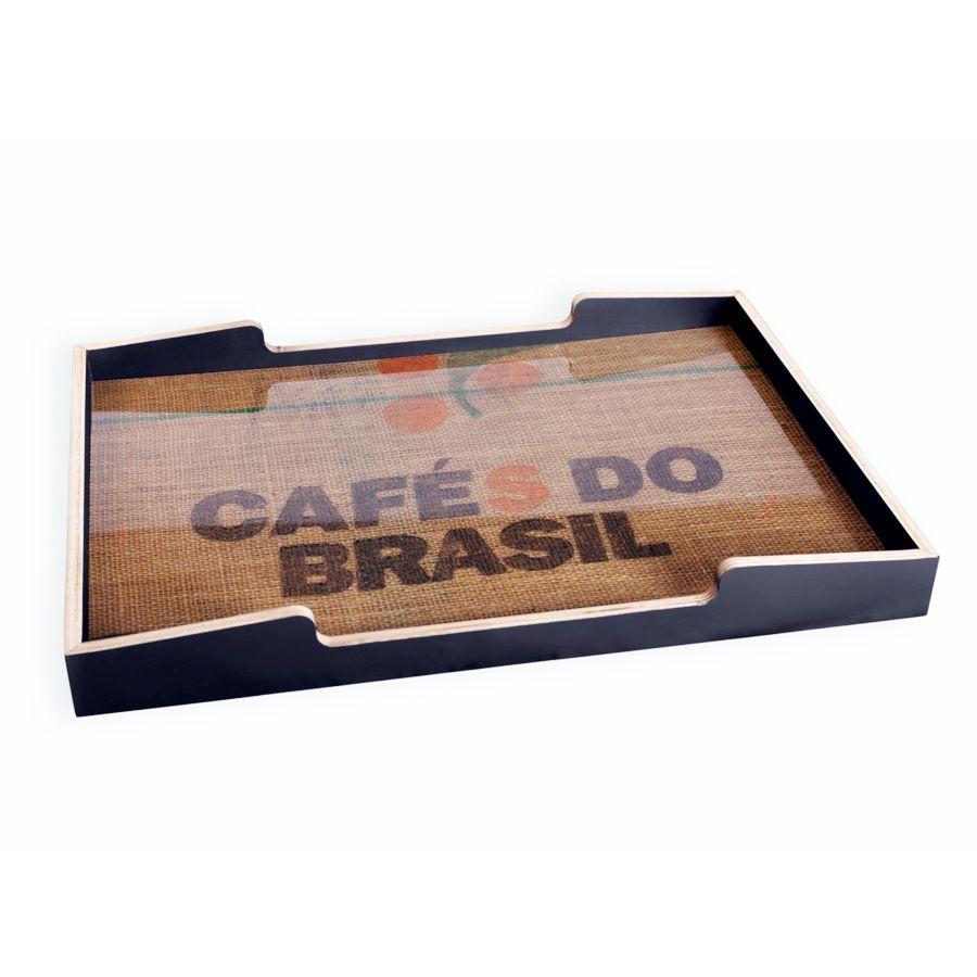 Plateau en bois noir-chêne et tissu pour espace café et cuisine d'entreprise ou de collectivité / chr