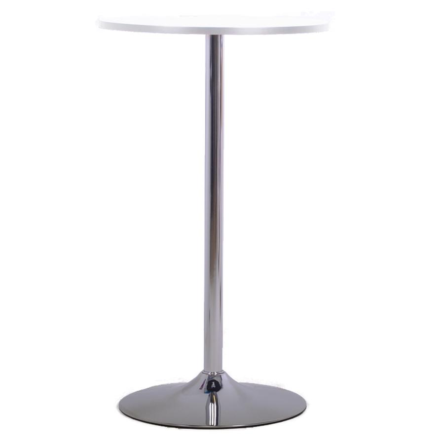 Table haute blanc avec un plateau de 60 cm convenant à une entreprise et collectivité / association, mange debout livré en kit