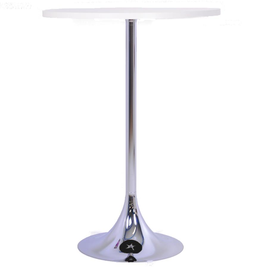 Mange debout blanc avec un plateau en bois de diamètre 80 cm qui est un élément idéal pour de courtes réunions en entreprise ou salon / exposition