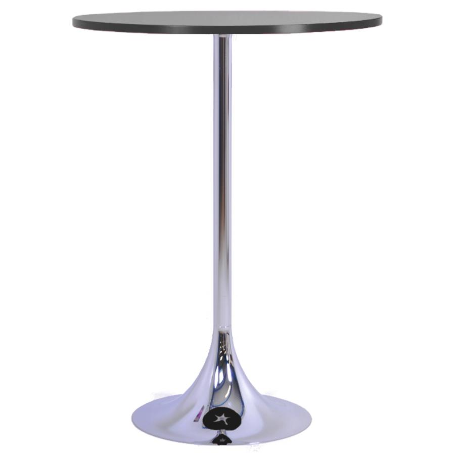 Mange debout graphite avec un plateau en bois de diamètre 80 cm qui est un élément idéal pour de courtes réunions en entreprise ou salon / exposition