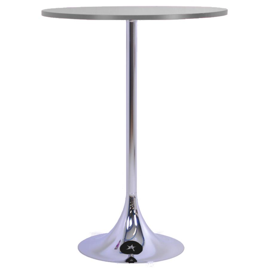 Mange debout gris avec un plateau en bois de diamètre 80 cm qui est un élément idéal pour de courtes réunions en entreprise ou salon / exposition