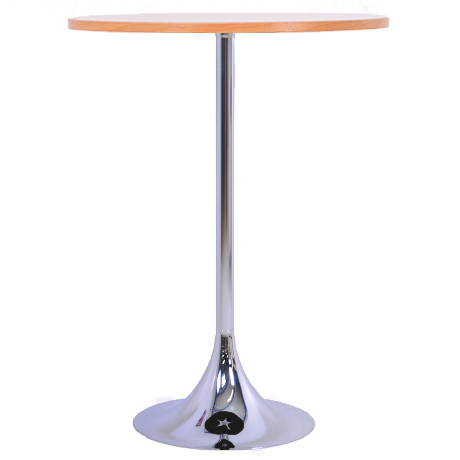 Mange debout hêtre avec un plateau en bois de diamètre 80 cm qui est un élément idéal pour de courtes réunions en entreprise ou salon / exposition