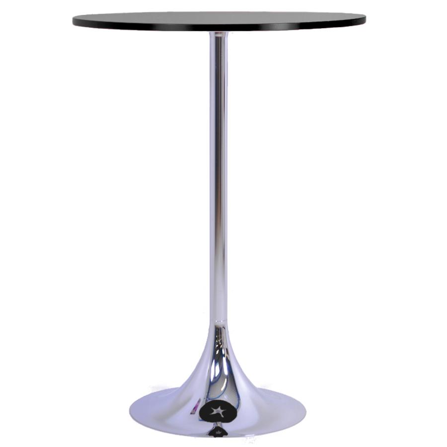 Mange debout noir avec un plateau en bois de diamètre 80 cm qui est un élément idéal pour de courtes réunions en entreprise ou salon / exposition