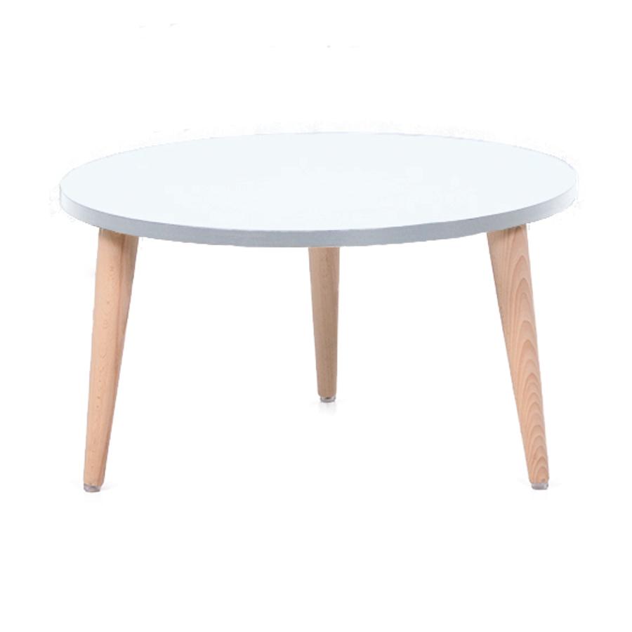 Table basse bois blanc avec un plateau de diamètre 60 cm convenant pour des espaces d'accueil en entreprise ainsi qu'espaces détentes