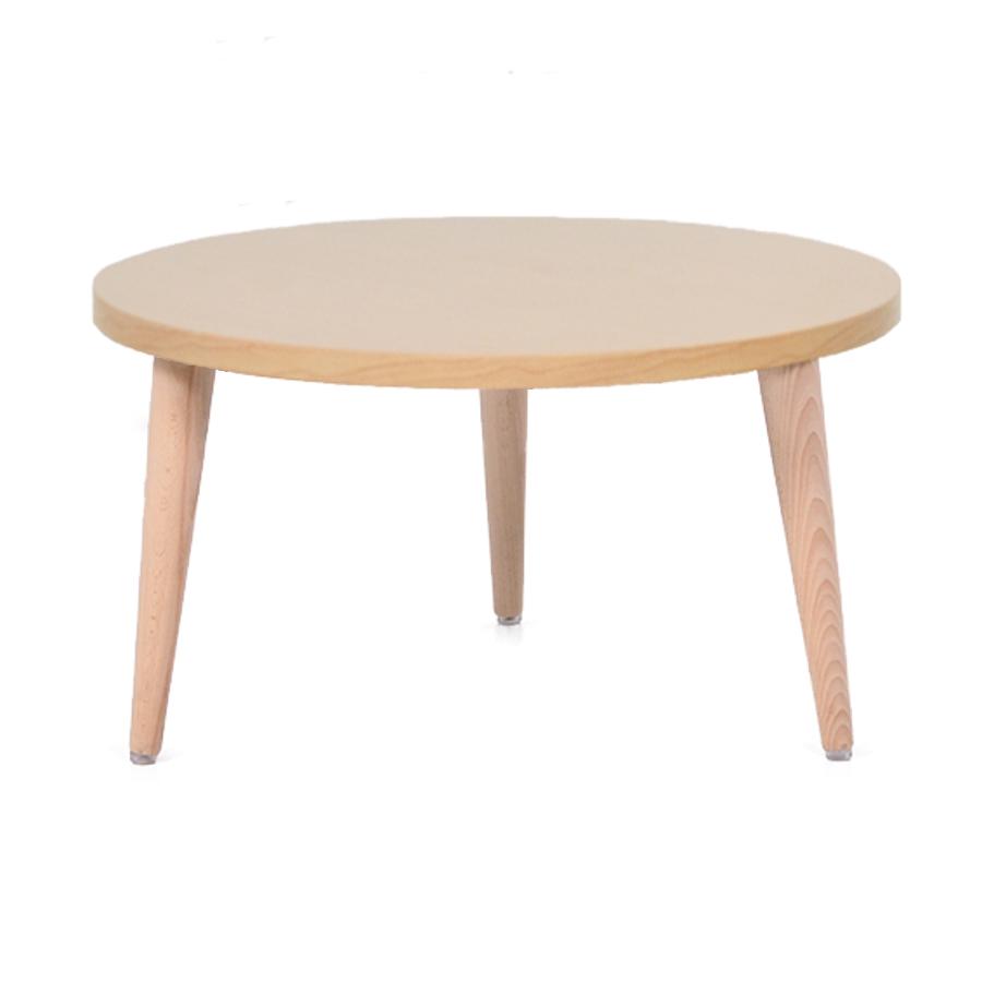 Table basse bois chêne avec un plateau de diamètre 60 cm convenant pour des espaces d'accueil en entreprise ainsi qu'espaces détentes