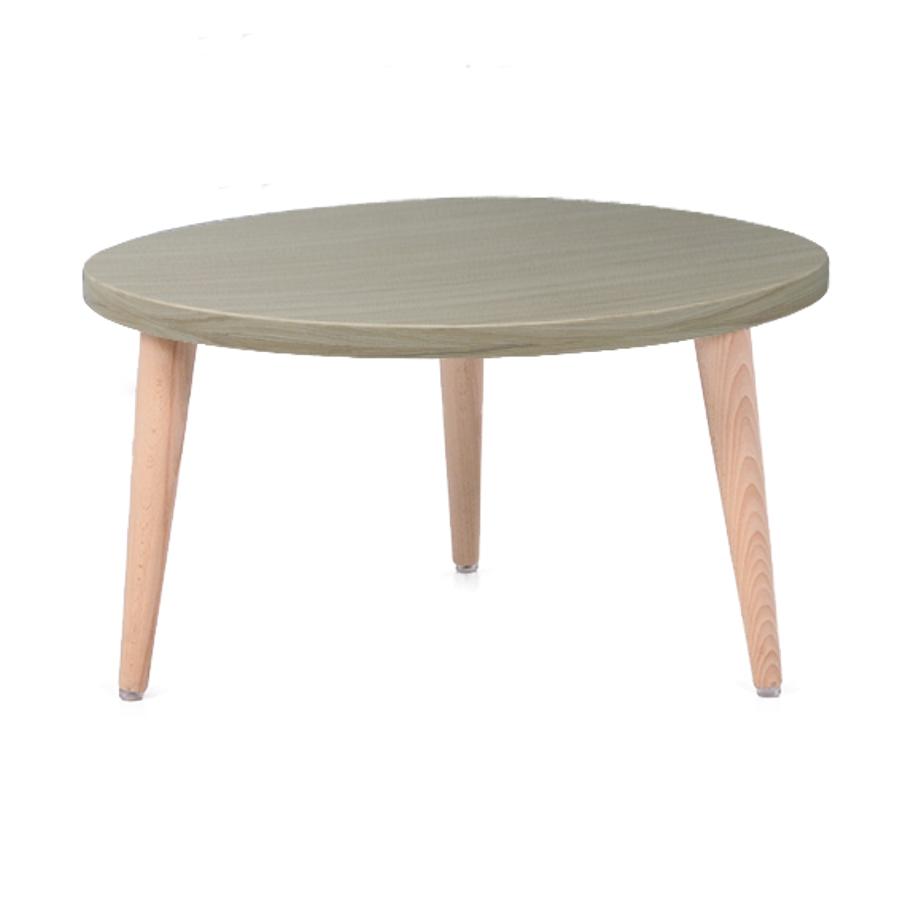 Table basse bois driftwood avec un plateau de diamètre 60 cm convenant pour des espaces d'accueil en entreprise ainsi qu'espaces détentes