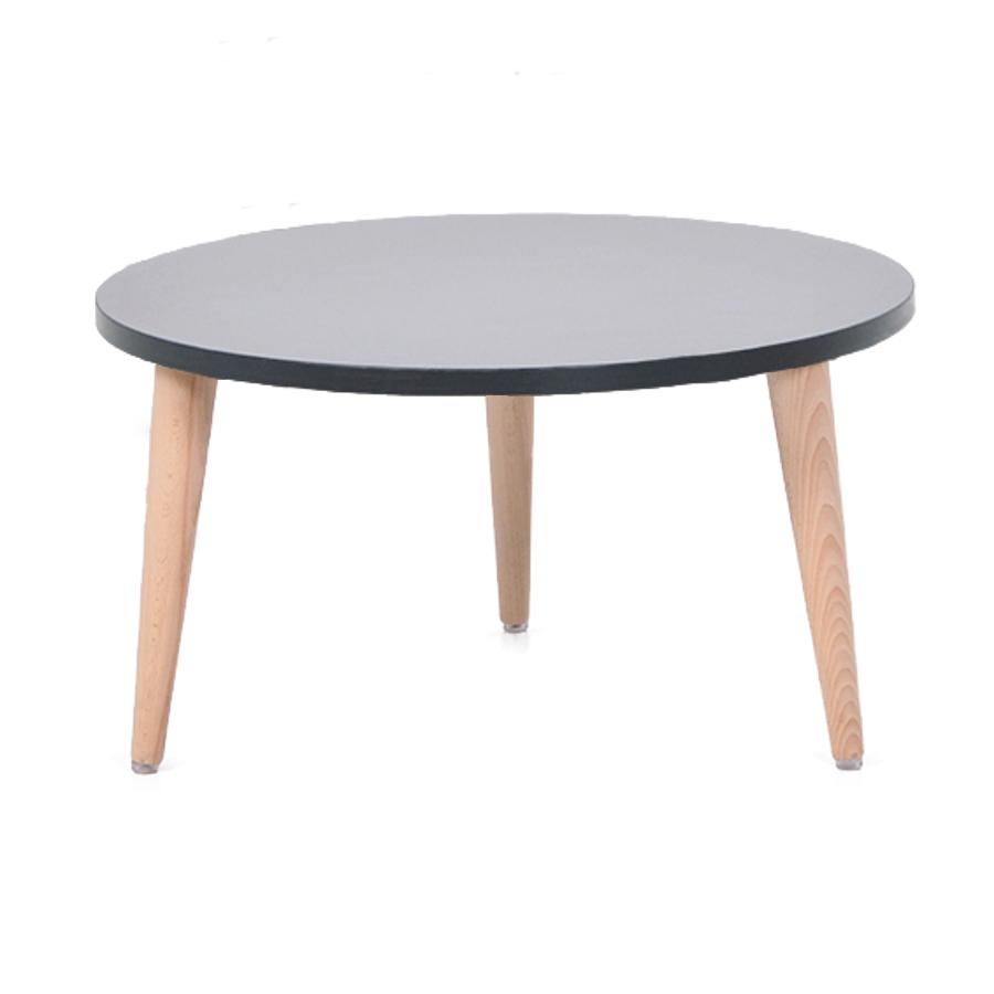 Table basse bois graphite avec un plateau de diamètre 60 cm convenant pour des espaces d'accueil en entreprise ainsi qu'espaces détentes