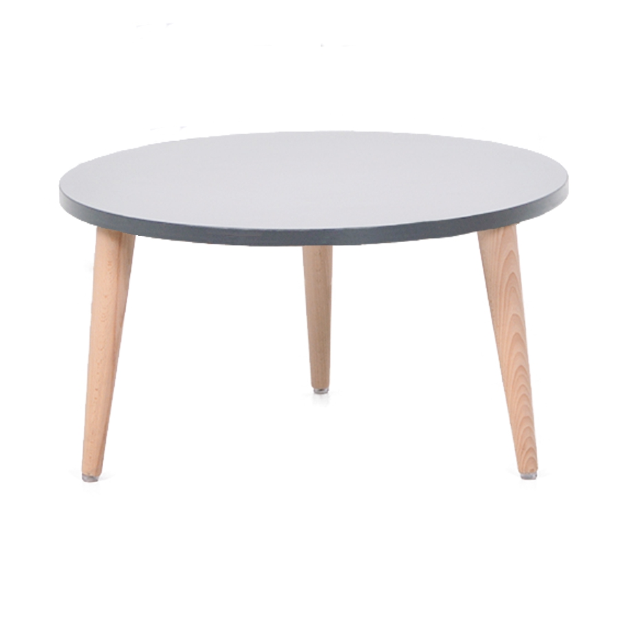 Table basse bois gris avec un plateau de diamètre 60 cm convenant pour des espaces d'accueil en entreprise ainsi qu'espaces détentes