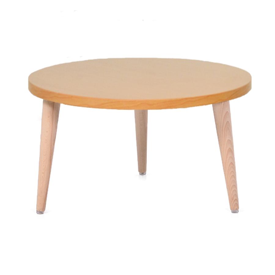 Table basse bois hêtre avec un plateau de diamètre 60 cm convenant pour des espaces d'accueil en entreprise ainsi qu'espaces détentes