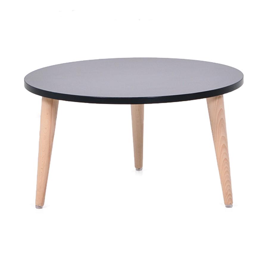 Table basse bois noir avec un plateau de diamètre 60 cm convenant pour des espaces d'accueil en entreprise ainsi qu'espaces détentes