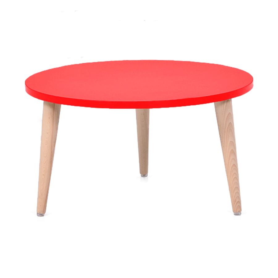 Table basse bois rouge avec un plateau de diamètre 60 cm convenant pour des espaces d'accueil en entreprise ainsi qu'espaces détentes