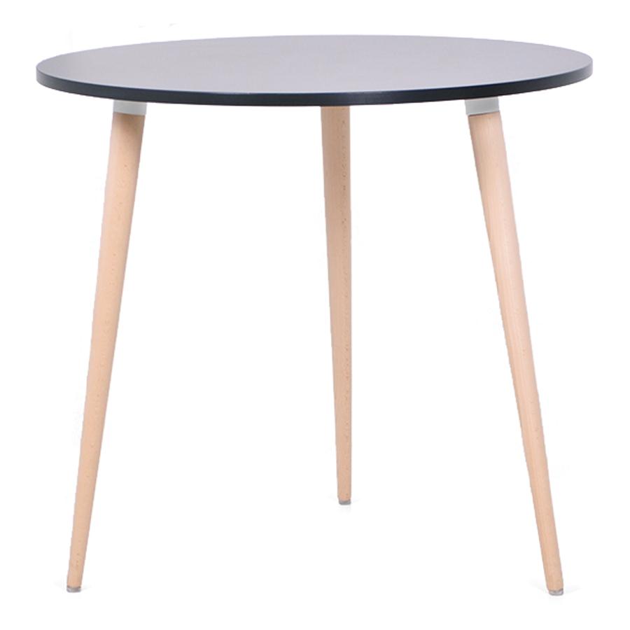 Table ronde scandinave bois noir avec un plateau de diamètre 80 cm convenant pour des bureaux d'entreprises et collectivités / CHR