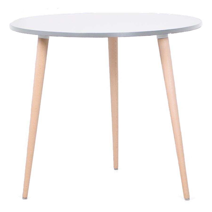 Table ronde scandinave bois blanc avec un plateau de diamètre 80 cm convenant pour des bureaux d'entreprises et collectivités / CHR