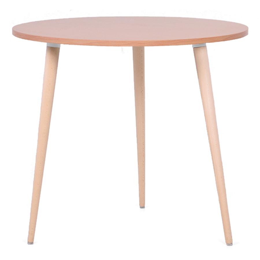 Table ronde scandinave bois chêne avec un plateau de diamètre 80 cm convenant pour des bureaux d'entreprises et collectivités / CHR