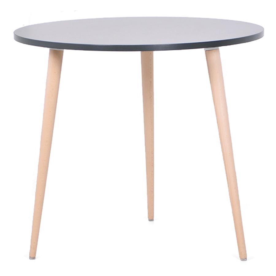 Table ronde scandinave bois graphite avec un plateau de diamètre 80 cm convenant pour des bureaux d'entreprises et collectivités / CHR