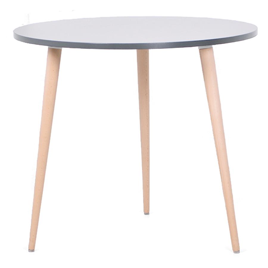 Table ronde scandinave bois gris avec un plateau de diamètre 80 cm convenant pour des bureaux d'entreprises et collectivités / CHR