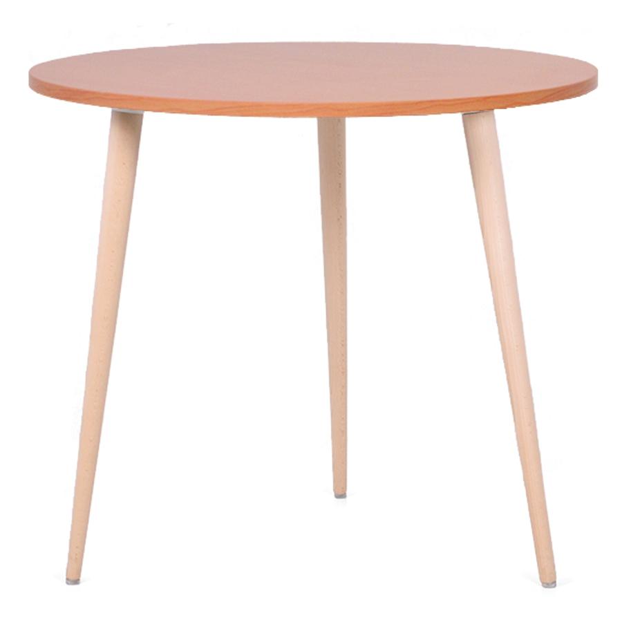 Table ronde scandinave bois hêtre avec un plateau de diamètre 80 cm convenant pour des bureaux d'entreprises et collectivités / CHR