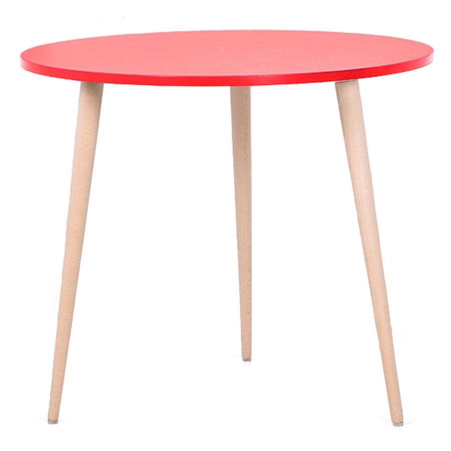 Table ronde scandinave bois rouge avec un plateau de diamètre 80 cm convenant pour des bureaux d'entreprises et collectivités / CHR