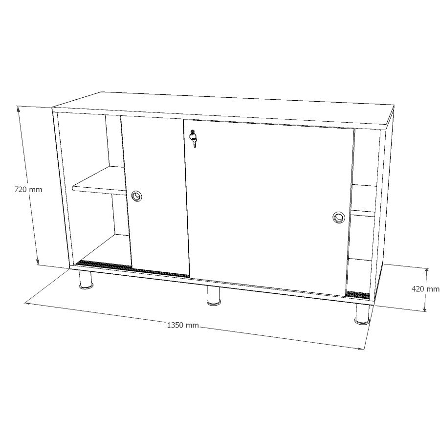 Armoire de rangement avec des dimensions idéales et doté de portes coulissantes avec serrure à clé fabriqué en France