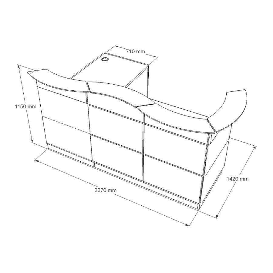 Dimenssion meuble accueil comptoir entreprise