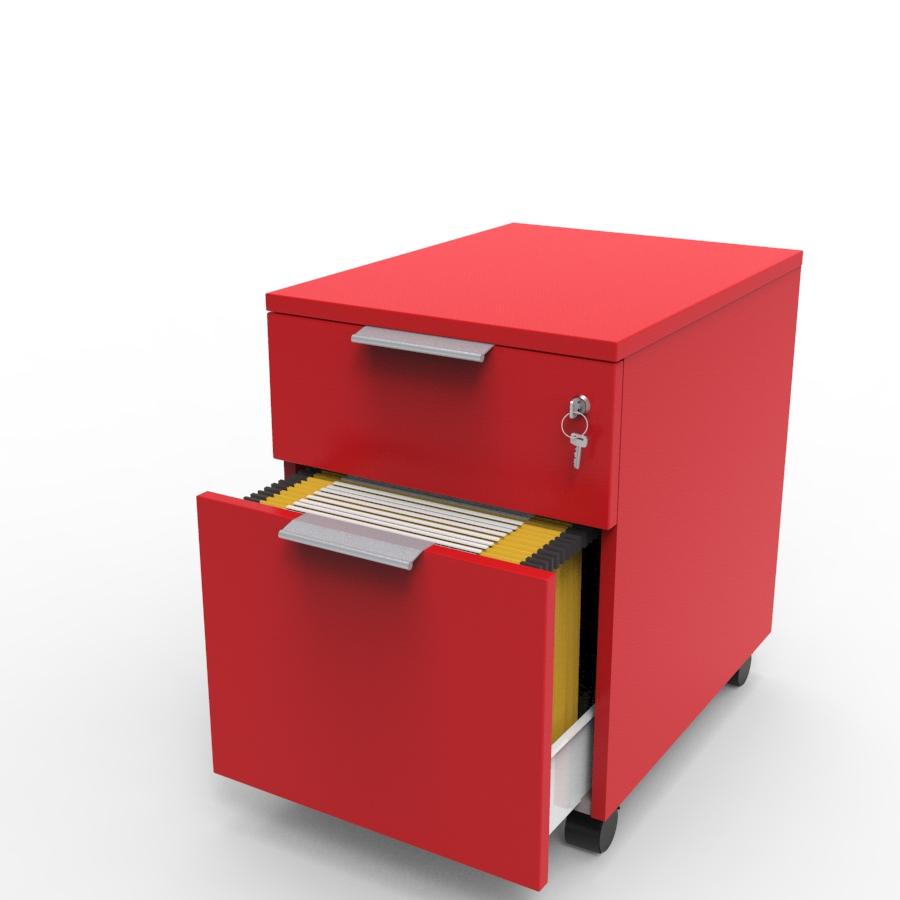 Caisson bois 2 tiroirs livré en KIT avec un tiroir qui se ferme à clé et un autre pour dossiers suspendus