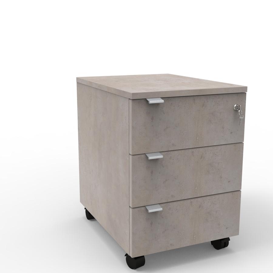 Caisson pour bureau 3 tiroirs livré en kit avec premier tiroir qui se ferme avec une serrure à clé pour bureau