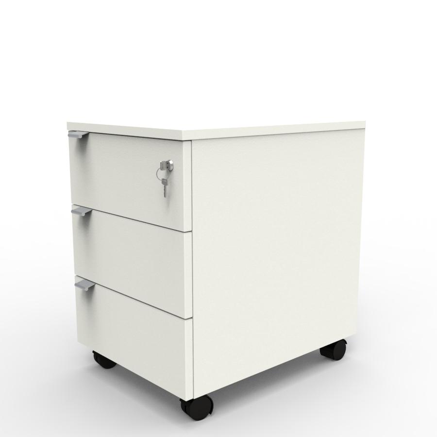 Caisson de rangement 3 tiroirs livré monté pour bureau dans une entreprise ou une collectivité / chr