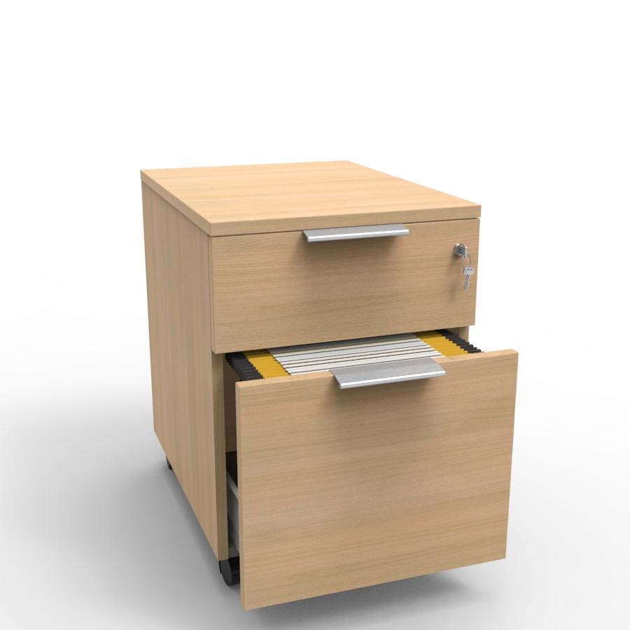 Caisson de rangement en plusieurs coloris avec deux tiroirs en bois et serrure à clé