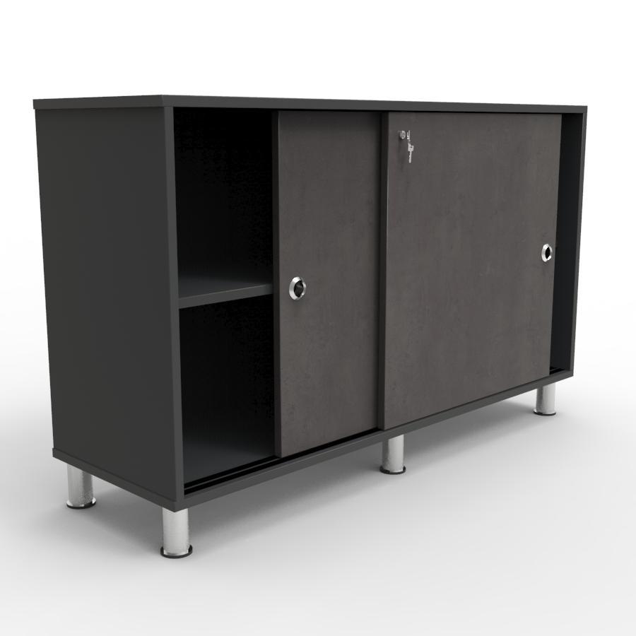 Armoire de rangement béton foncé pour du rangement et archivage dans un espace accueil