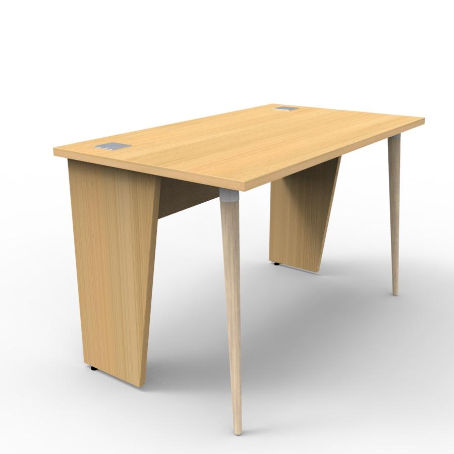 Bureau compact 120 cm chêne clair est fabriqué en France et décliné en plusieurs coloris pour entreprise et collectivité / chr