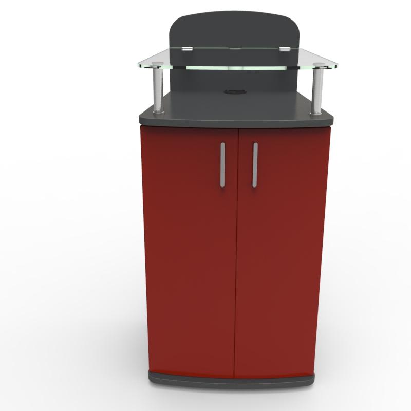 Meuble desserte rouge idéal dans un bureau avec un espace café ou coin cuisine