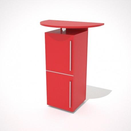 Desserte cuisine rouge en bois avec tiroir et rangements fermés par une porte fermée
