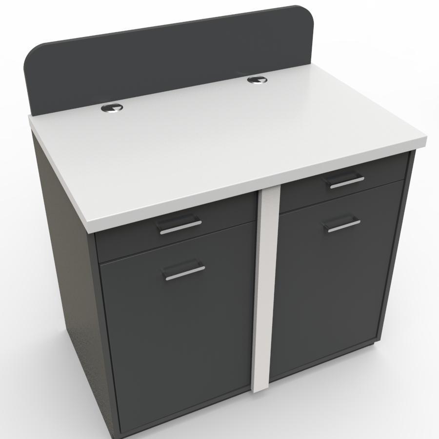 Meuble pour machine à café professionnelle graphite et blanc pour grande et moyenne machine à café et bouilloire de cuisine de restaurant ou d'hôtel