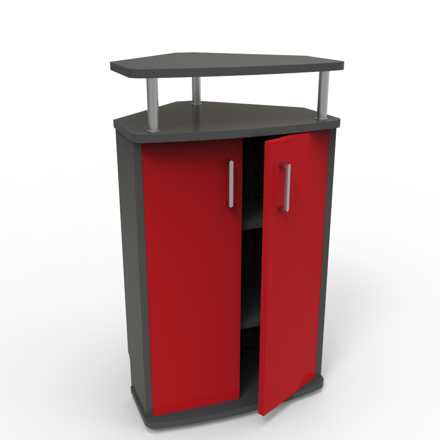Meuble d'angle pour machine à café rouge convenant aux structures souhaitant faire l'achat d'un meuble pour machine à café avec un bon rapport qualité / prix