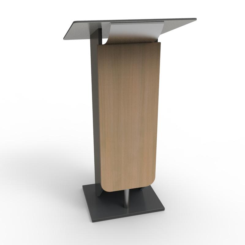Pupitre pour conference chêne clair en bois et alu pour discours et événement organisé par des collectivités et mairies souhaitant faire l'achat d'un lutrin de conférence de qualité