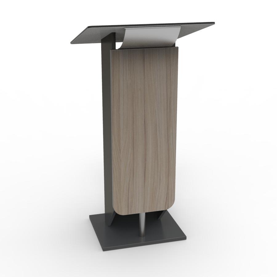 Pupitre pour conference driftwood livré monté et disposant de rangements et d'une tablette inclinée idéal pour installer un micro col de cygne ou une liseuse led