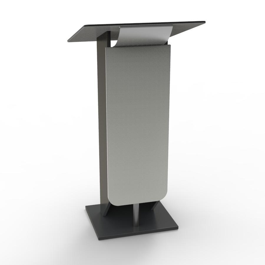 Pupitre de conference bois gris destiné à des meetings et discours organisés par des collectivités et universités