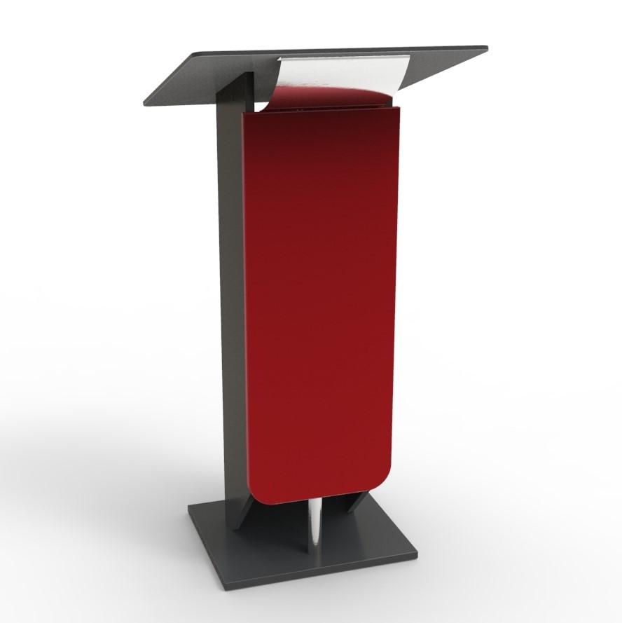Pupitre de conference bois rouge destiné à des meetings et discours organisés par des collectivités et universités