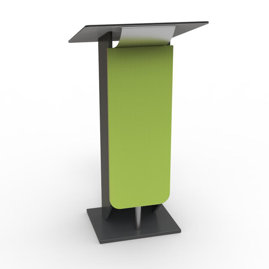 Pupitre de conference bois vert destiné à des meetings et discours organisés par des collectivités et universités